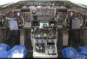 Photo of a typical DC-9-82 flight deck in daylight