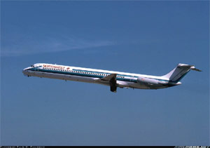 Photo of a Northwest DC-9-82 after takeoff