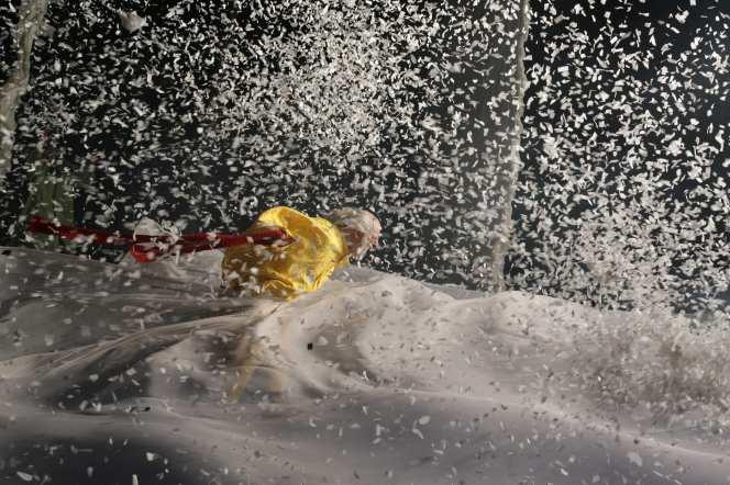 Slava Snowshow Yellow clown in storm by Vladimir Mishukov