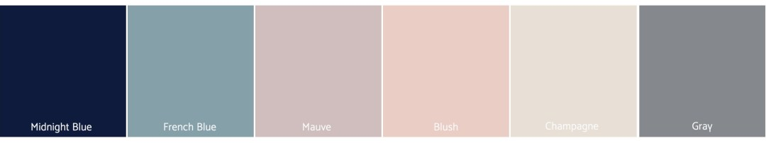 wedding color palette of blues, pinks, and gray