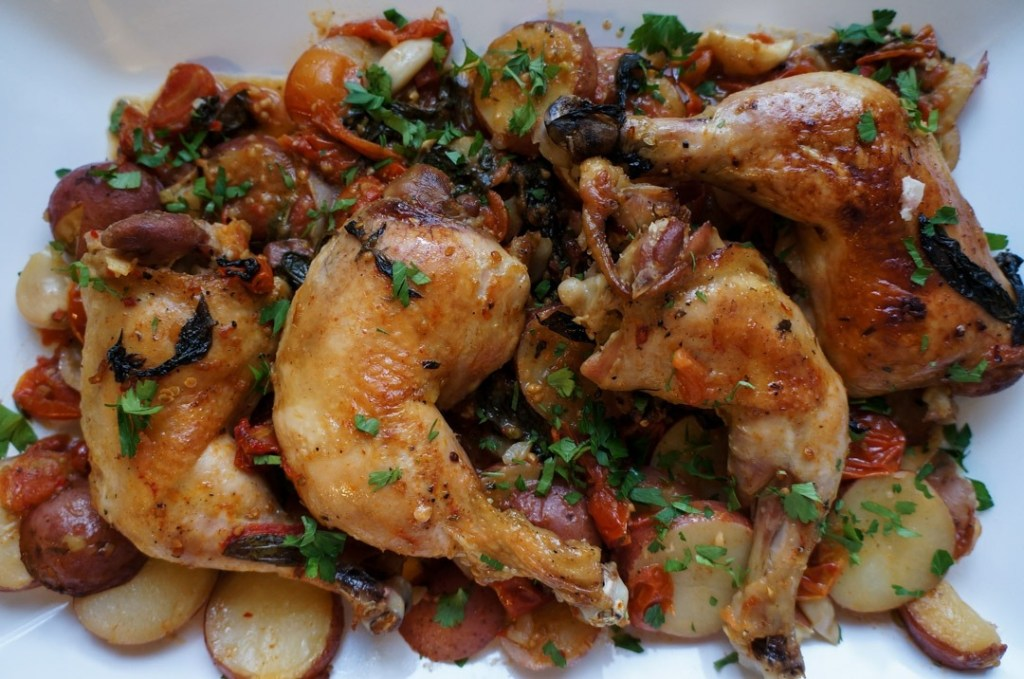 one pot chicken with tomatoes, basil and potatoes