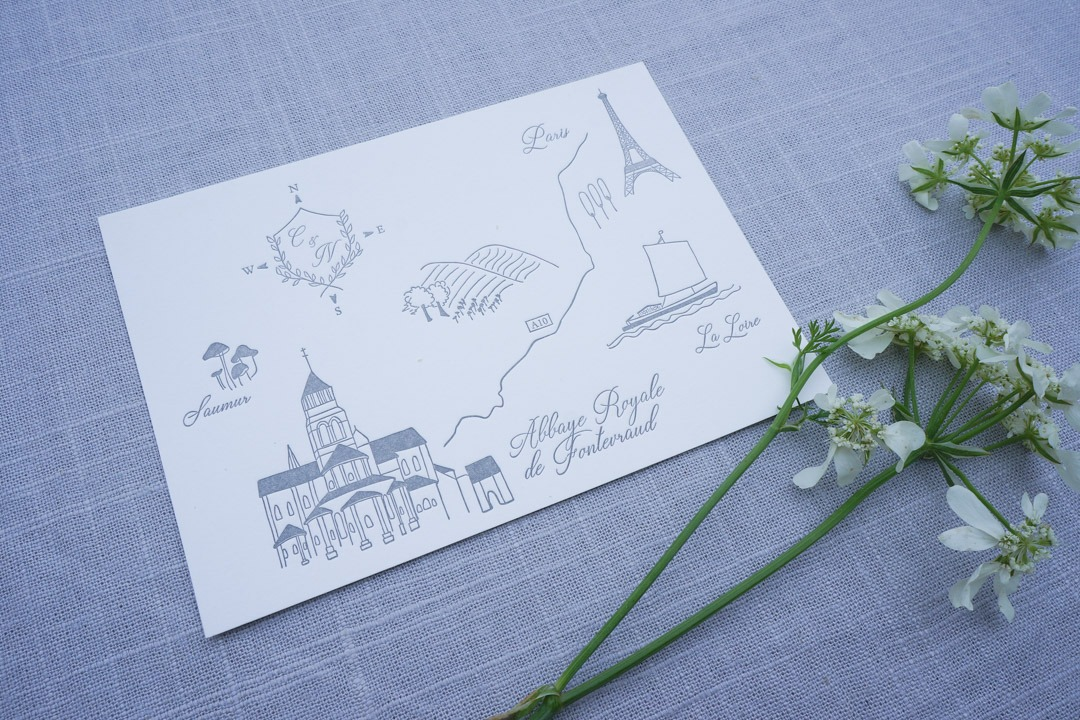 Hand Drawn letterpress wedding invitation map