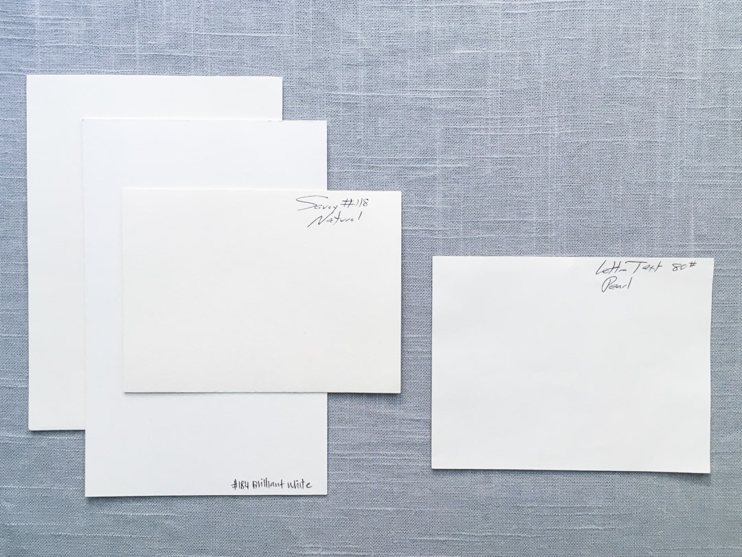 paper samples of Reich Savoy and Crane Lettra