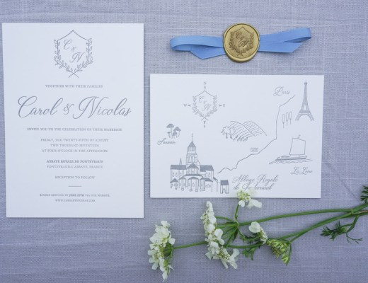 romantic letterpress french destination wedding invitations