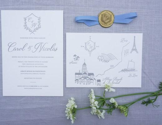 romantic letterpress french destination wedding invitations