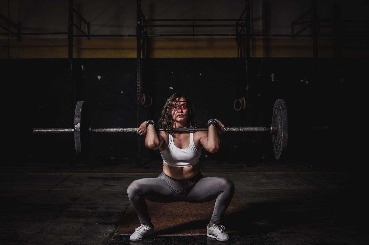 A woman taking part in weight training. An important part of muscle growth.