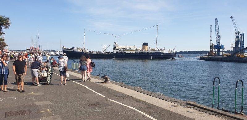SS Shieldhall coming into Poole harbour in the summer heat
