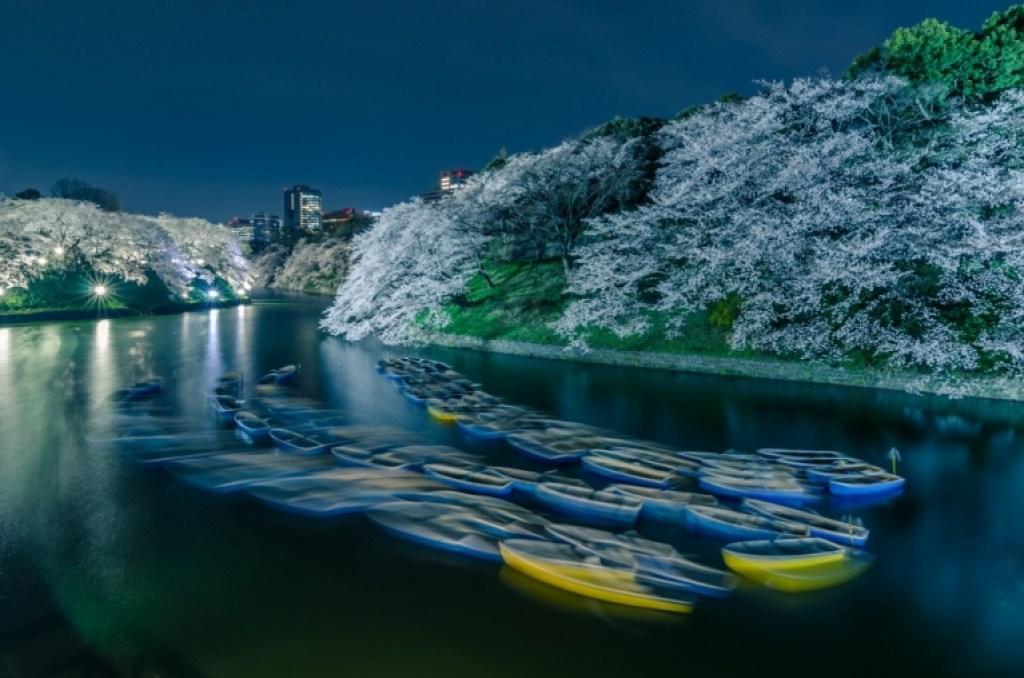 Boats at Chidorigafuchi at night
