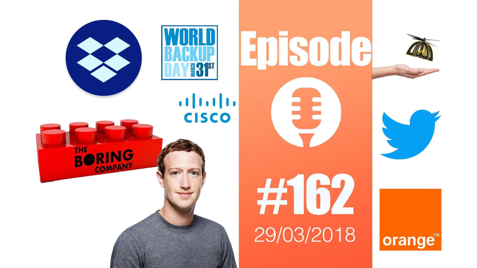 #162: Backup Day, Boring Company, Plan Bee de Walmart, Facebook et nos données, Cisco et les sans-abris,…