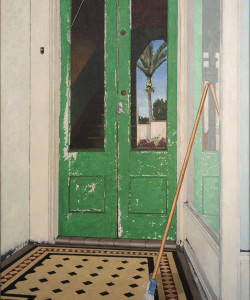 a painting by Lester Blair of a Green Door and broom, with the reflection of nikau palm