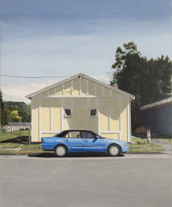 """""""Modest dwelling, Featherston"""". Acrylic on canvas 900 x 700mm"""
