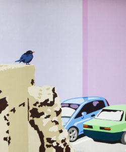 black bird on broken concrete, a painting by Lester Blair