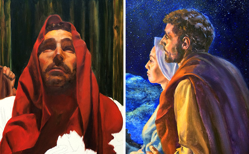 Emmaus and Bethlehem paintings progress shots
