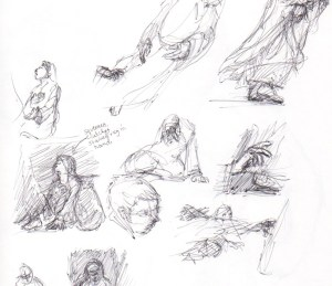 "Additional sketches for the painting ""Touching Faith"""