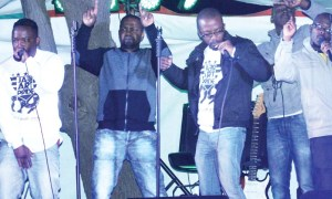 INI members performing at the Alliance Française de Maseru music festival last month.