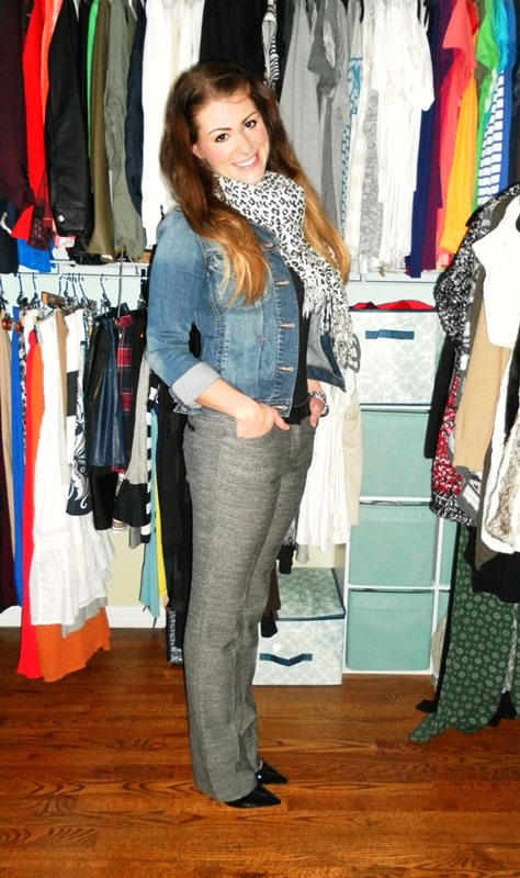 denim jacket, tweed trousers, patent pumps, leopard scarf