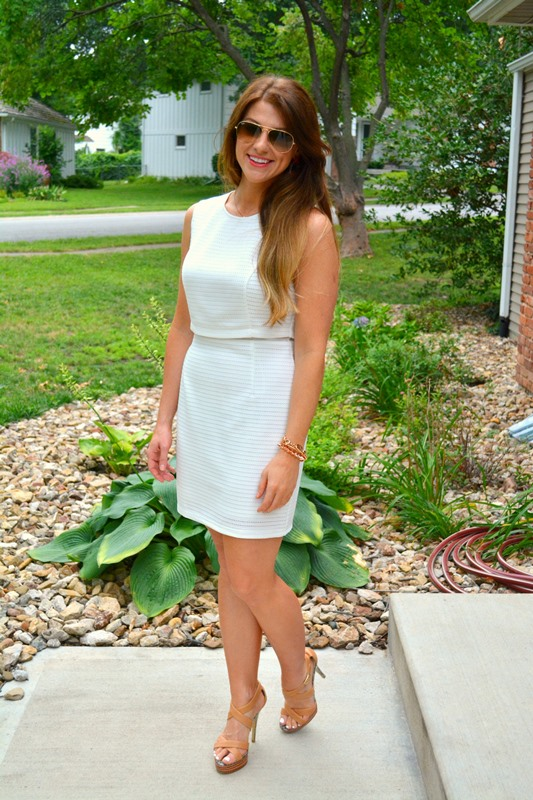 little white dress, nude sandals, ashley from lsr