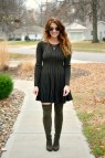 Olive Green Sweater Dress. Le Stylo Rouge
