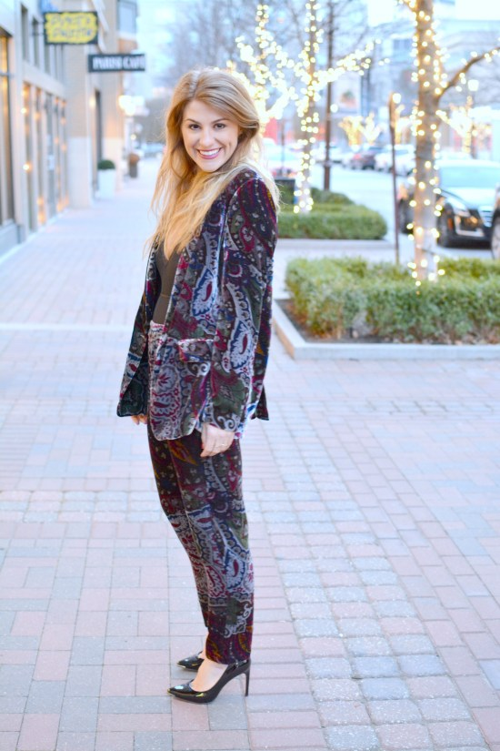 Ashley from LSR in a paisley velvet suit and black pumps