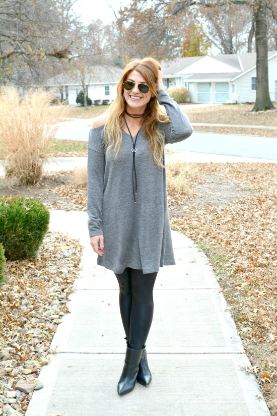 Ashley from LSR in a gray sweater dress, Spanx leggings, and pointed toe ankle boots