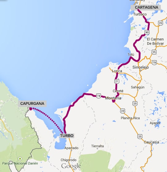 Itineraire de Cartagena à purgana