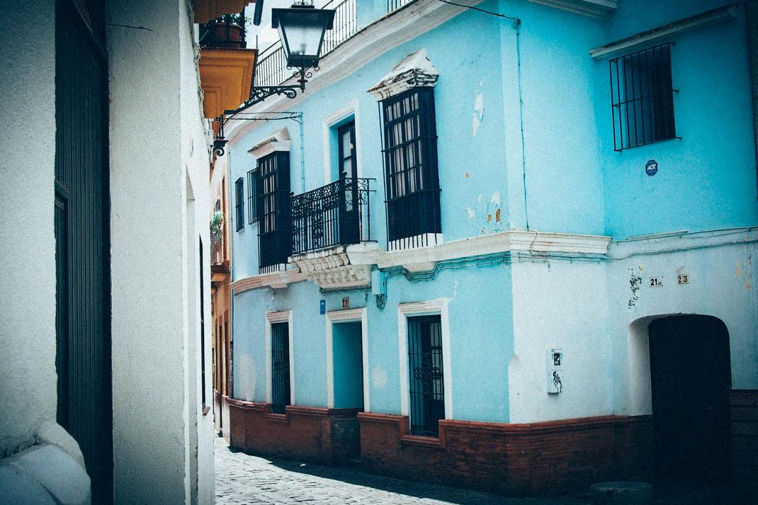 Maison bleue, quartier Macarena à Séville, Voyage en Espagne