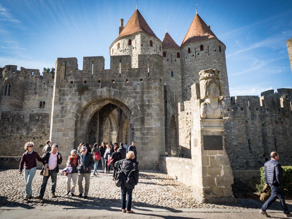 entrée principale de la cite de carcassonne patrimoine mondial unesco