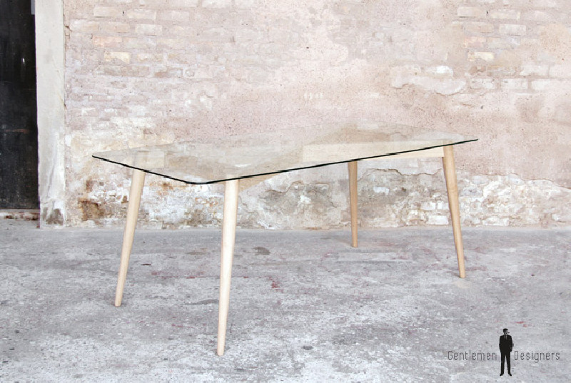 table repas plateau verre pieds chene scandinave
