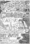 """25 juin 1988 The Cannibals, Pasadenas, Rocco & the Rays, Moonshiners, Witches Valley, Dirteez, les Soucoupes Violentes, Dirty Wankers à Paris """"Salle Marius Magnin"""""""