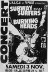 """3 novembre 1990 Burning Heads, Subway Surfers à Vienne """"Salle Dupré"""""""