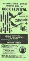 """30 avril 1988 Pistones, Blue Valentines, The Batmen, Fleshtones, les Dogs, Noir Désir, Fixed Up à Fontenay le Comte """"Salle de la Grande Prairie"""""""