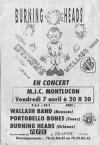 "7 avril 1995 Wallash Band, Portobello Bones, Burning Heads à Montluçon ""MJC"""