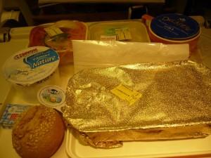 Le plateau repas dans l'avion