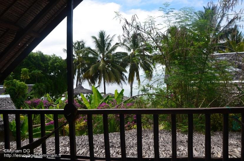 La vue depuis la terrasse commune des chambres
