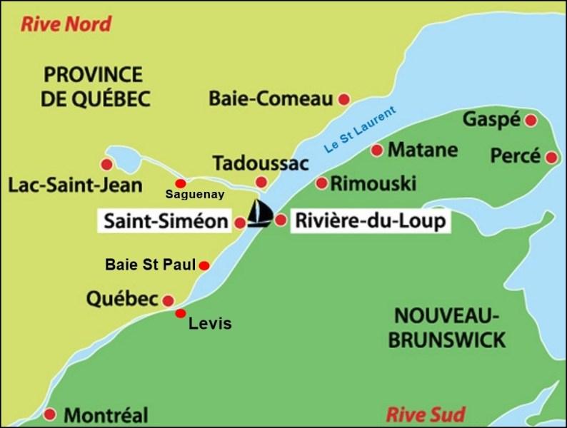 Carte de Tadoussac et Lac St Jean - Québec