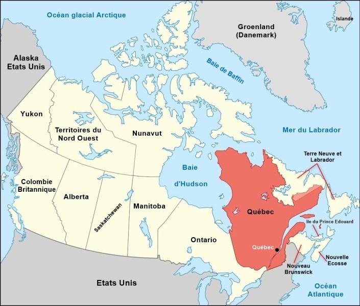 carte du Québec et Canada