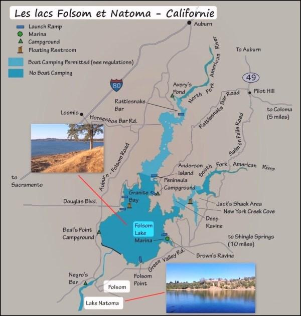 Les lacs Folsom et Natoma - Californie (USA)