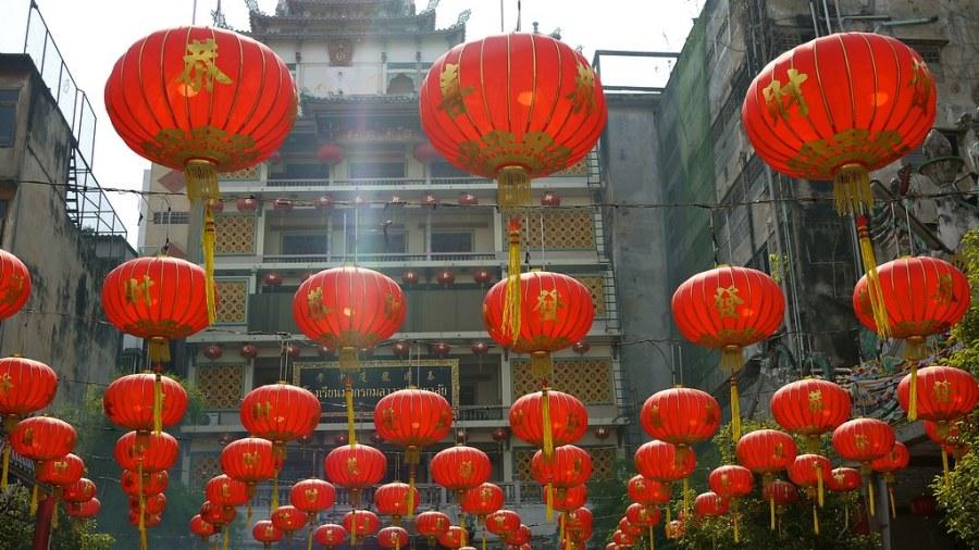 Lanternes dans le quartier de Chinatown à Bangkok