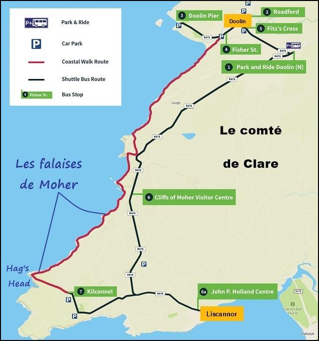 Carte des falaises de Moher - Irlande