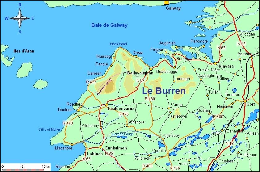 Carte du Burren - Comté de Clare (Irlande)