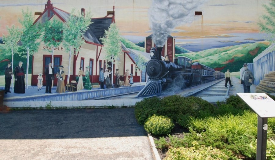 Le p'tit train du Nord - Peinture de la gare de Ste Adèle (Québec)