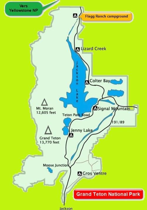 Carte de Grand Teton National Park - Wyoming (USA)