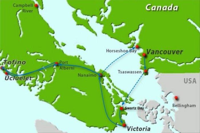 Carte de l'île de Vancouver (Canada)