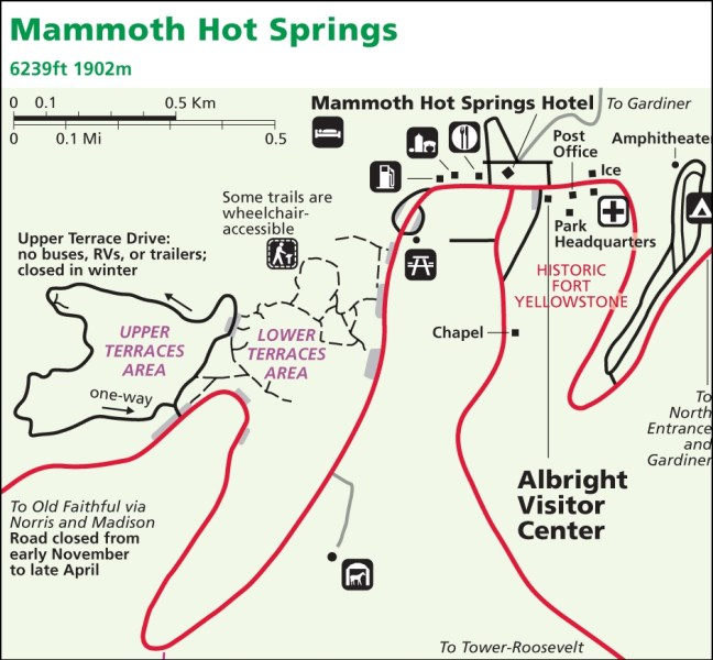 Plan de Mammoth Hot Springs - Yellowstone NP