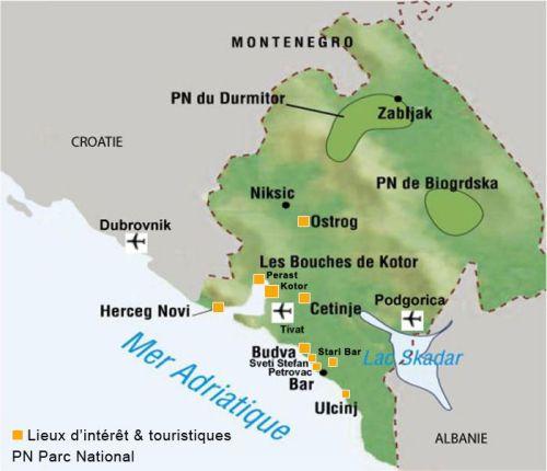 Carte du Monténégro