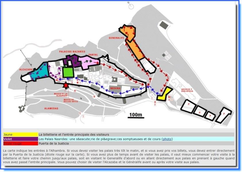 Plan de l'Alhambra de Grenade