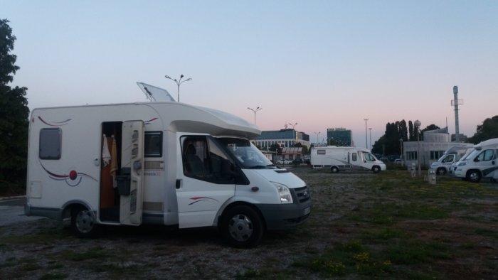 Sur l'aire de camping-car de Zagreb