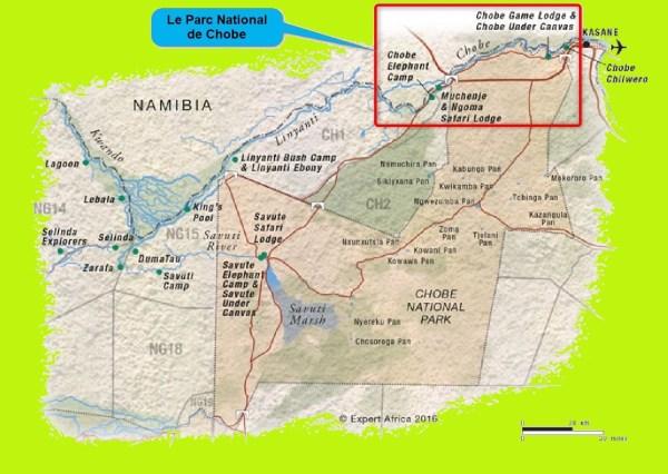 Carte du Parc National de Chobe - Botswana