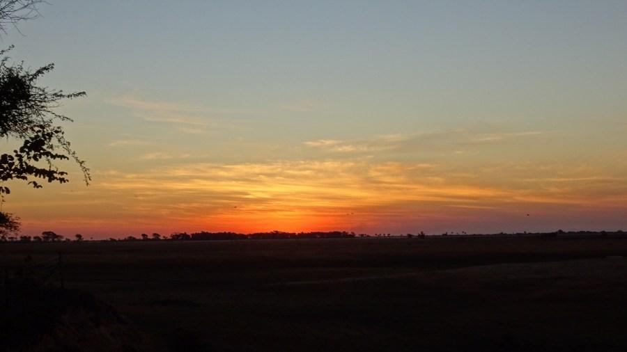 Coucher de soleil depuis le campsite de Muchenje - Botswana