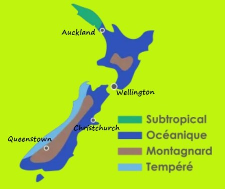 Carte des climats en Nlle Zélande